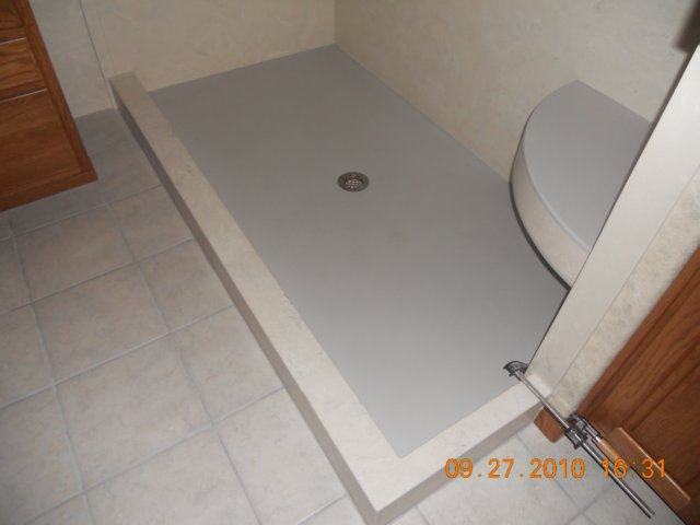 Solid surface corian shower pan