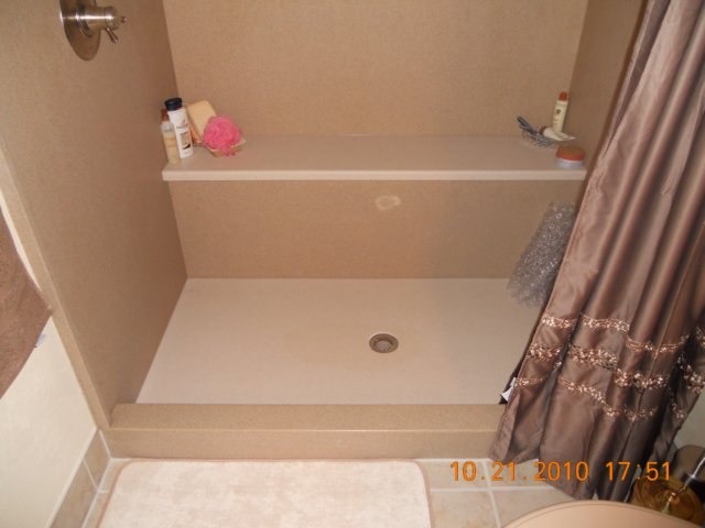 Solid Surface Shower Base And Bench
